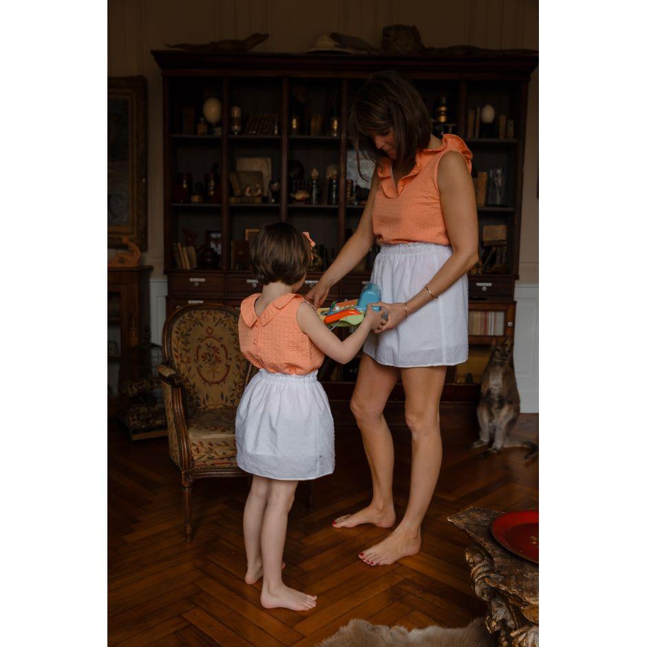 Duo de tops Mère & Fille abricot