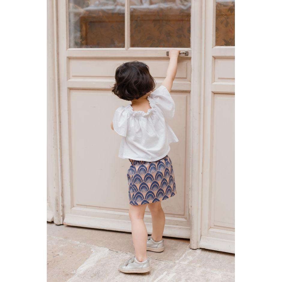 Jupe Fillette Paon Bleu & rosée / mode mère fille