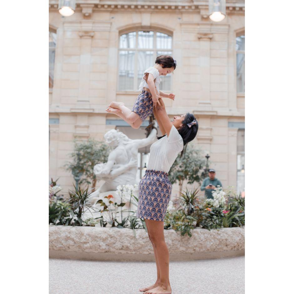 Jupe Femme Paon Bleu/rosé - mode mère fille