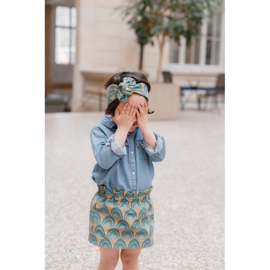 jupe fillette Paon Vert & or / mode mère fille