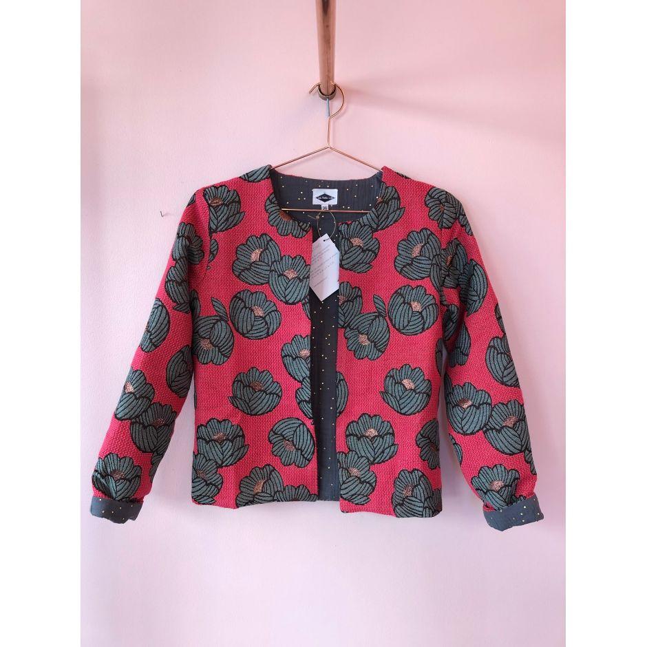 Veste fleurs rose